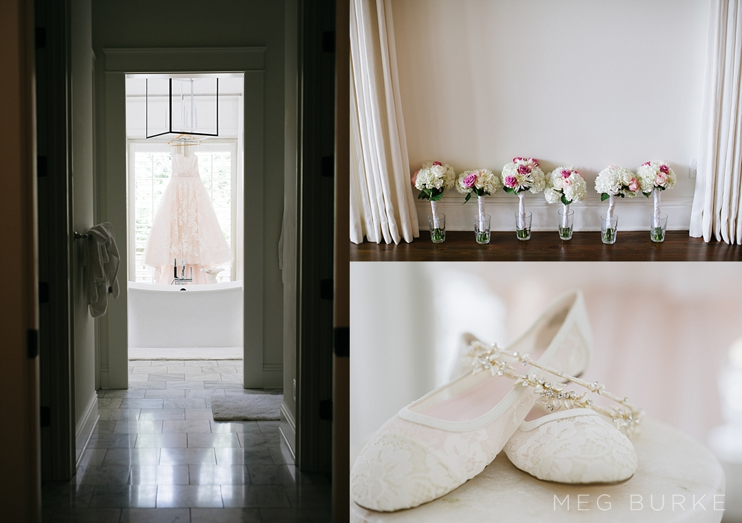wedding details champagne dress shoes flowers