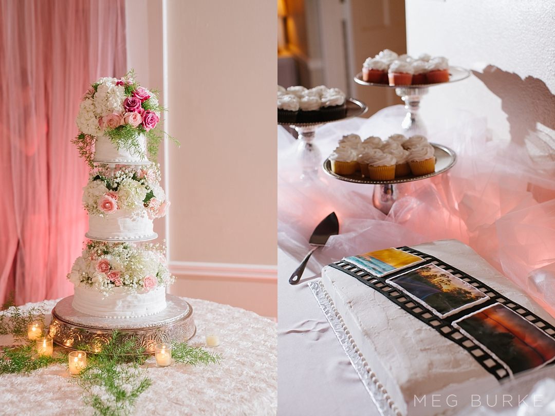 floral wedding cake and grooms cake film cake