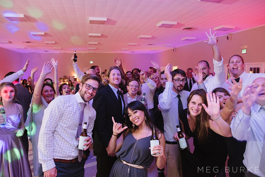 wedding reception guests having a good time