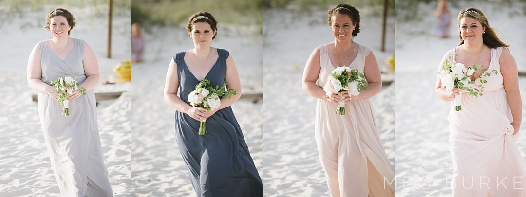 mismatched muted tone wrap dresses for bridesmaids