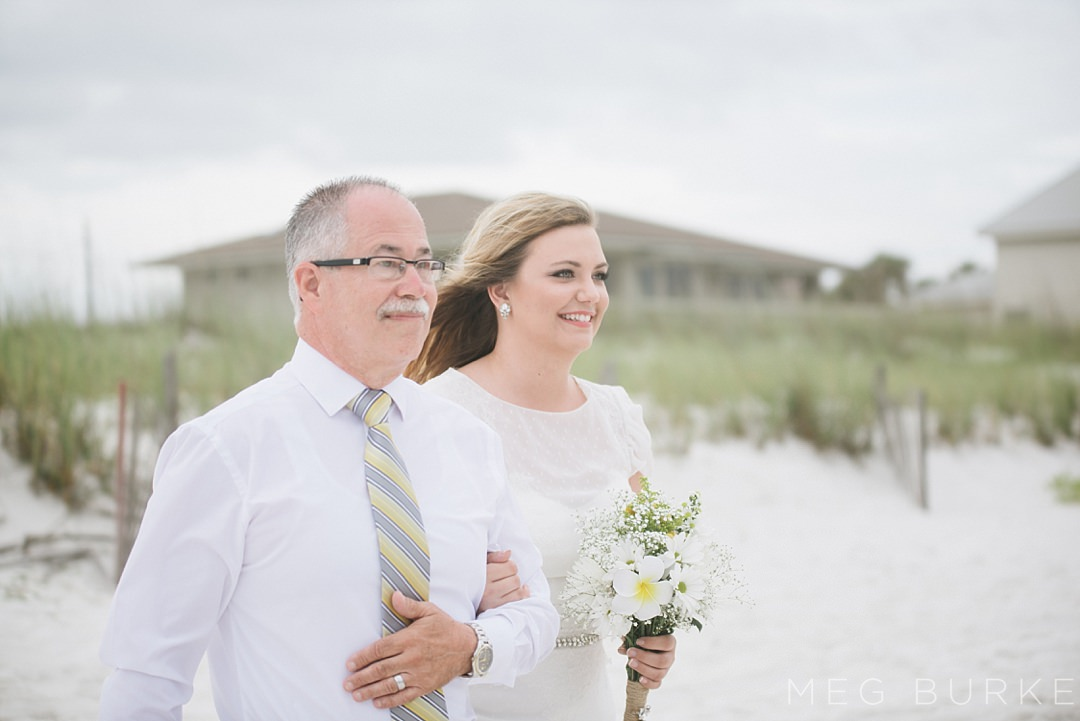 bride and father at southern beach ceremony