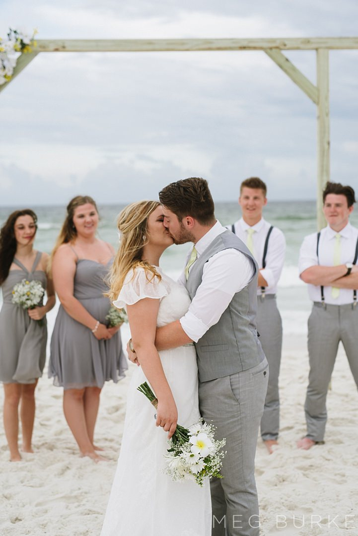 bridal party for pensacola beach elopement