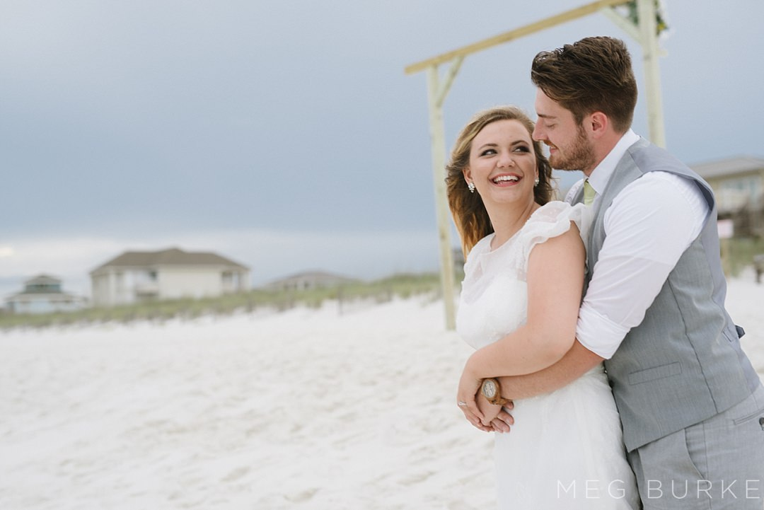 bride and groom for southern beach wedding