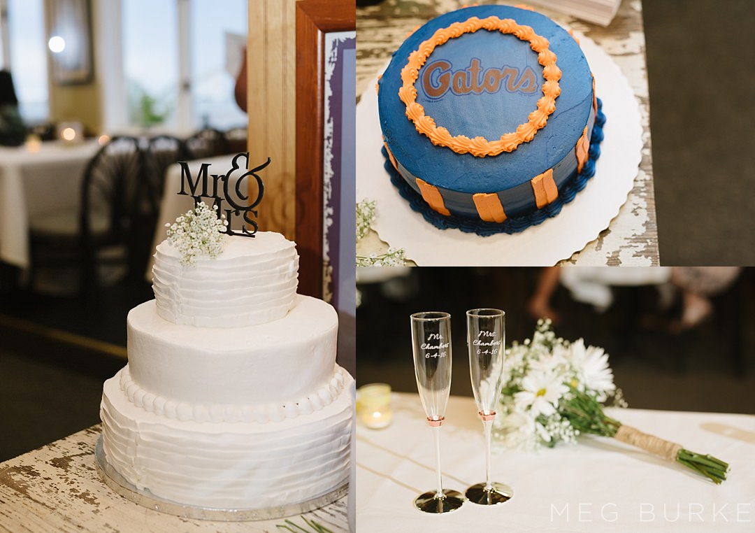 wedding cakes and details with a florida gator cake and kate spade champagne flutes