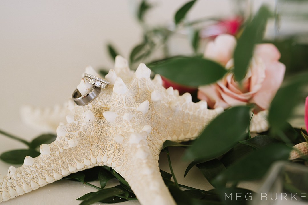 wedding rings and starfish
