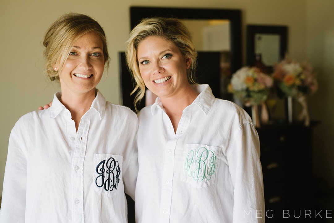 monogramed getting ready shirts for bride and bridesmaid