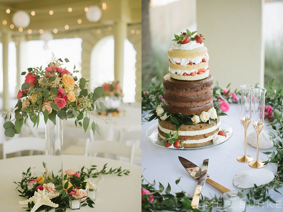naked wedding cake and centerpieces
