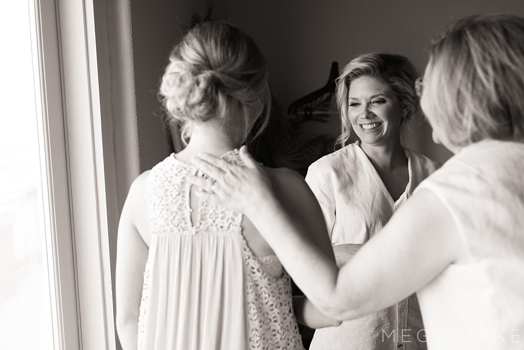 bride and family getting ready