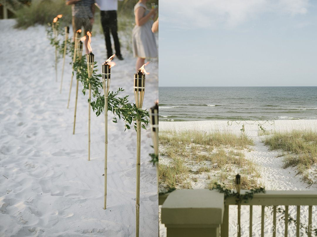 pensacola beach wedding tiki torches and ceremony