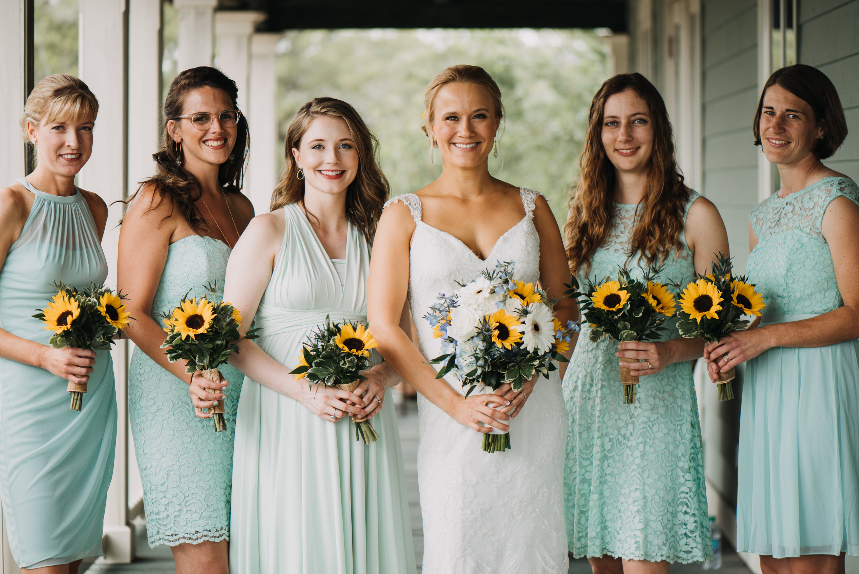 bridesmaids mint green mismatch dresses