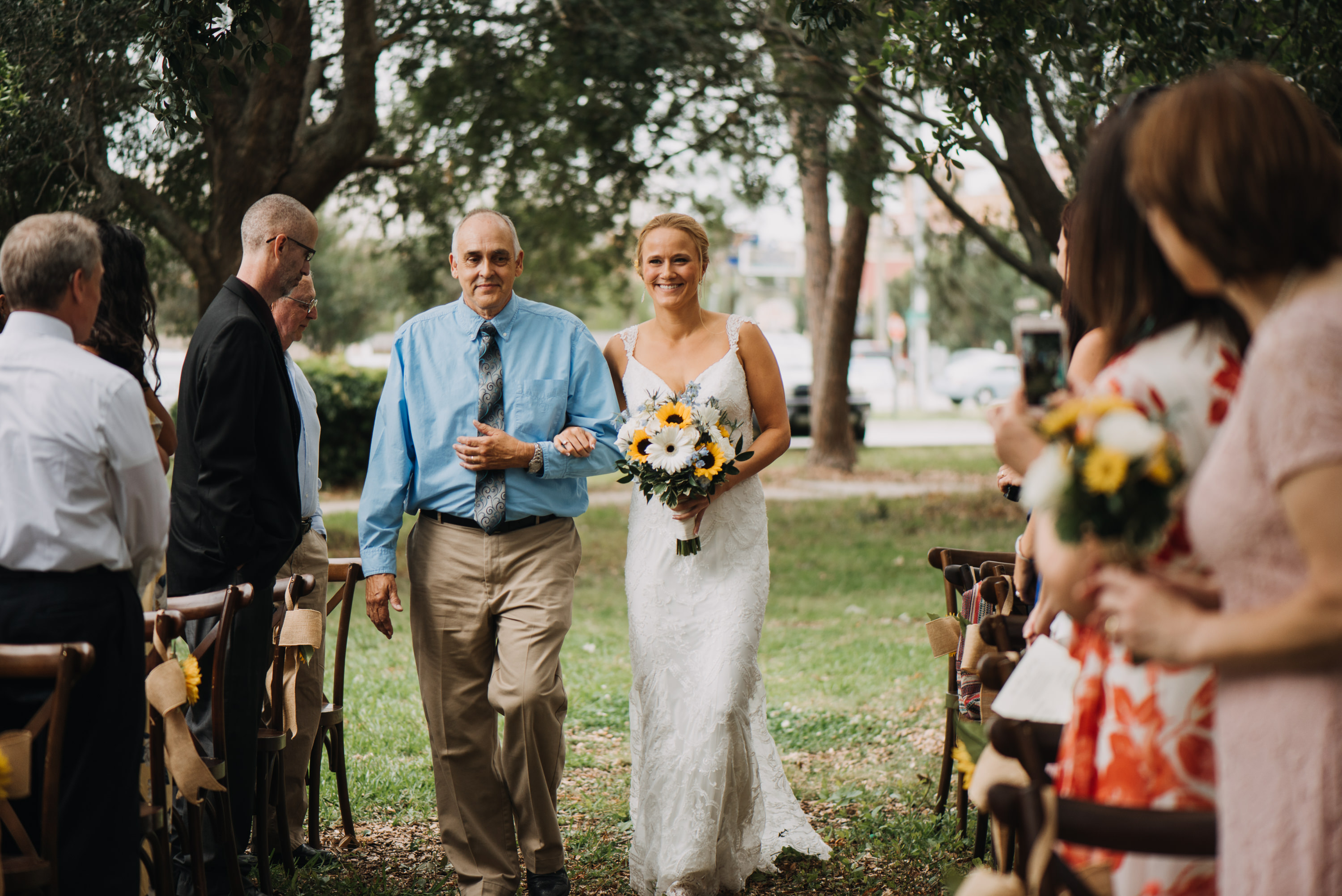 bride and dad outdoor park wedding
