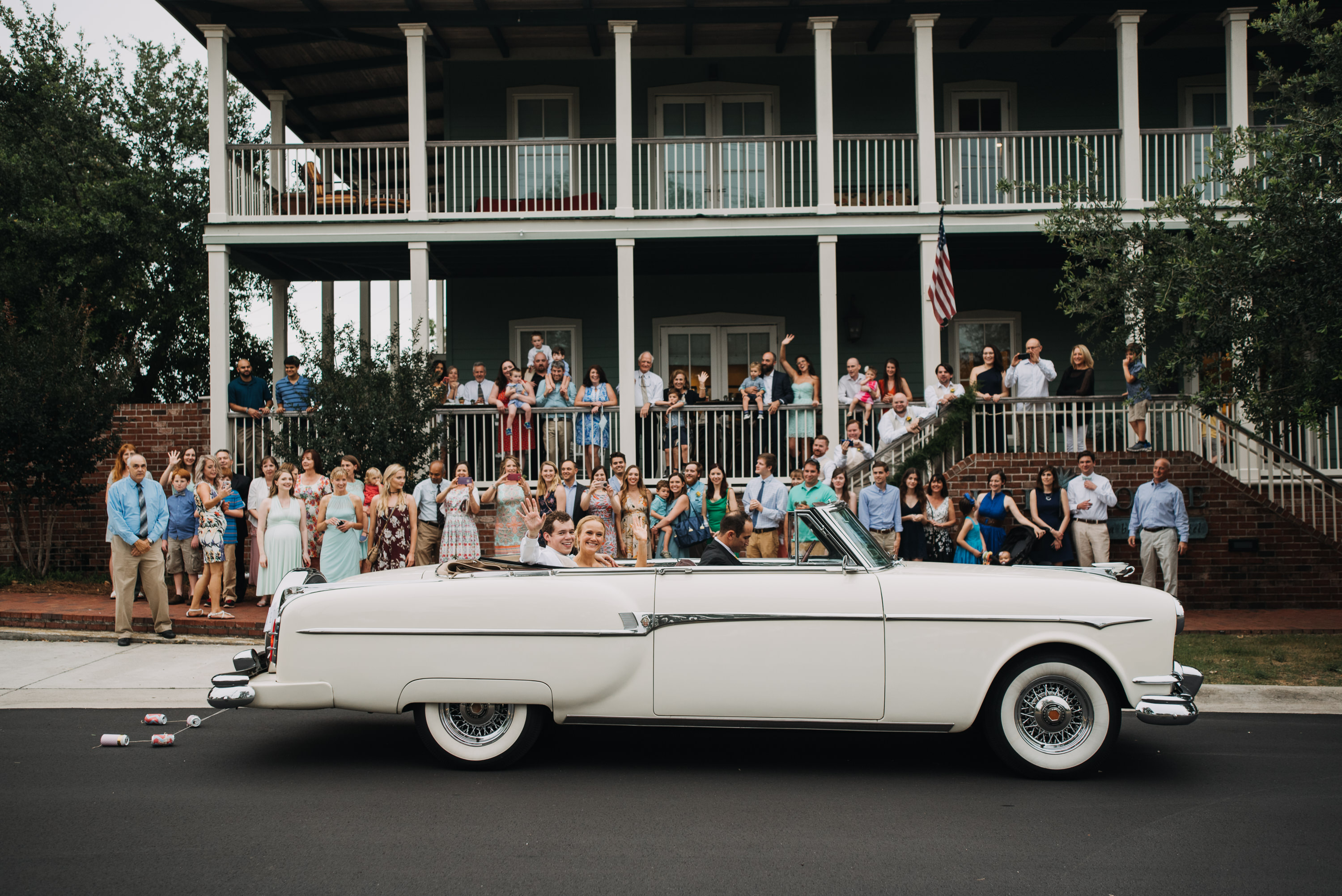 lee house pensacola bride and groom grand exit convertible