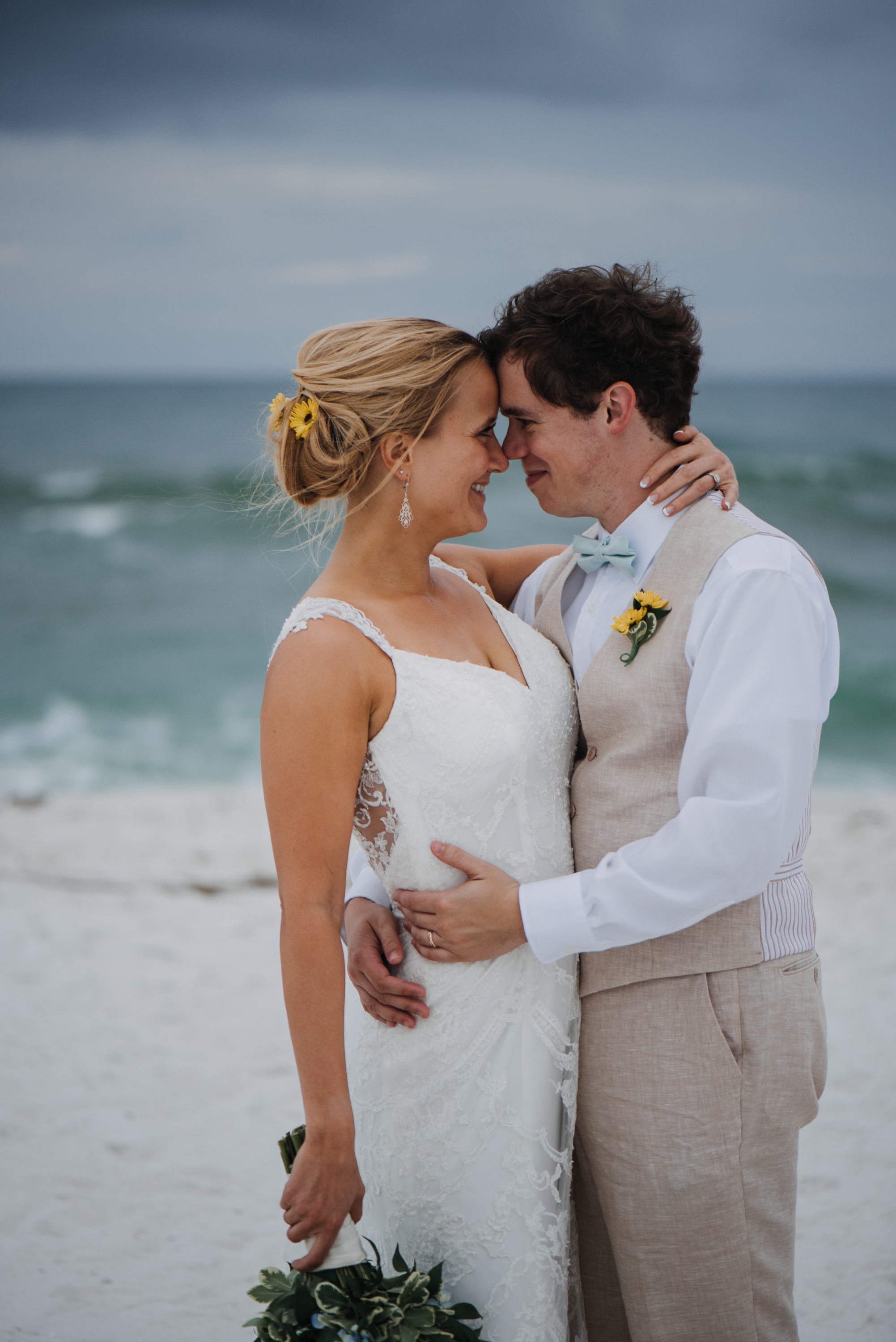 bride and groom beach portraits gulf coast pensacola