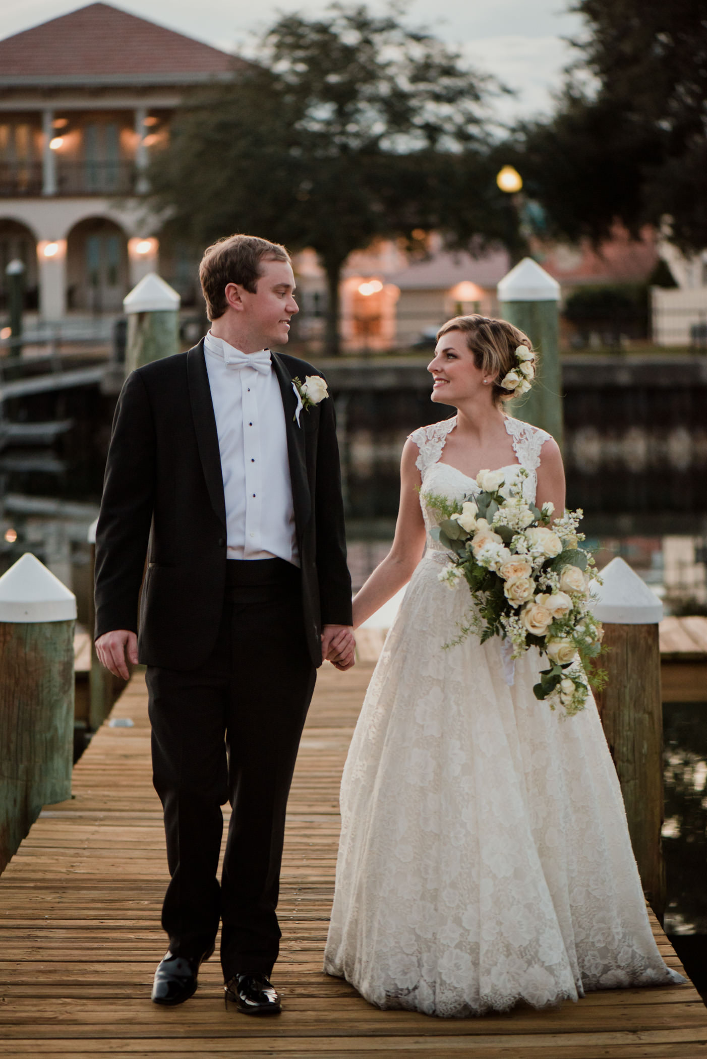 Bride & Groom Portraits at Palafox Wharf Waterfront Venue Pensacola, FL